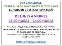 Horario de Oficina en Vacaciones / Öffnungszeiten an Urlaub / Office's schedule in Holidays